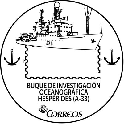 El presidente de Correos entrega un matasellos al BIO Hespérides